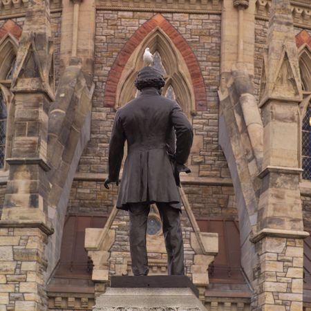 tribute: Ottawa Ontario Canada,Back view of Thomas DArcy McGee statue Stock Photo