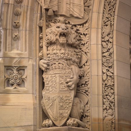 ade: Ottawa Ontario Canada,Carvings on fa�ade of parliament buildings Stock Photo