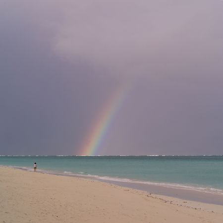 ful: Parrot Cay,Rainbow over ocean at Parrot Cay