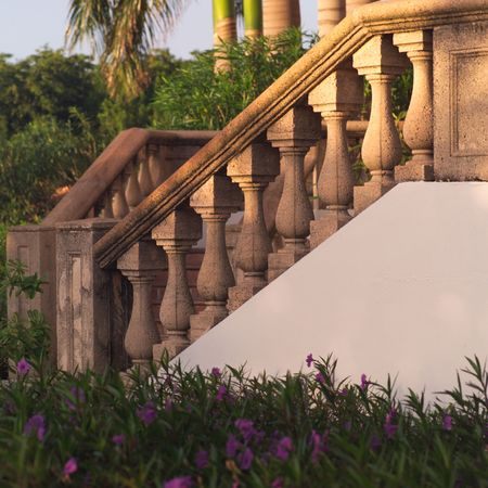cay: Parrot Cay,Staircase railing Stock Photo