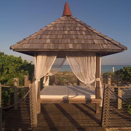 cay: Parrot Cay,Beach hut Stock Photo