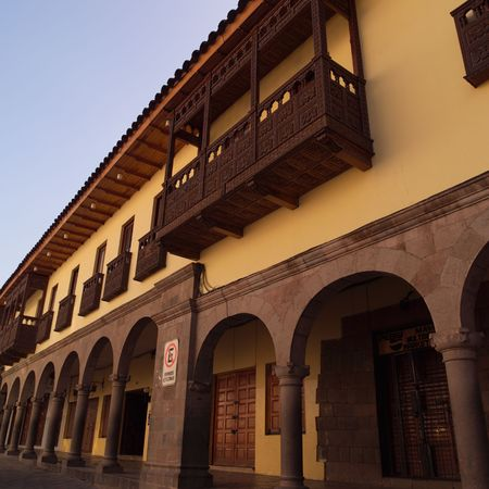 cusco: Cusco Peru, Fa�ade of buildings in Cusco