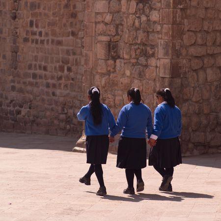 Cusco Peru, Girls walking down street