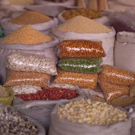 Cusco Market Peru, Bags of beans