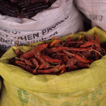 Cusco Market Peru, Bag of dried peppers