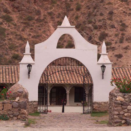 Peru - Sacred Valley, Gate to building complex in Peru Stock fotó