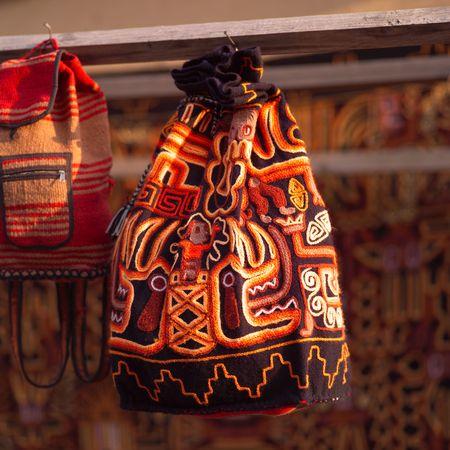 オランテイタンボ クスコ手作りバッグ 写真素材