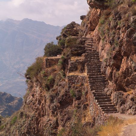 pisaq: Ruins of Pisaq - Temple of the Sun in Peru, Stairs along Mountainside Stock Photo