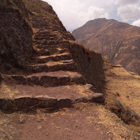 pisaq: Ruins of Pisaq - Temple of the Sun in Peru, Stairs along mountainside