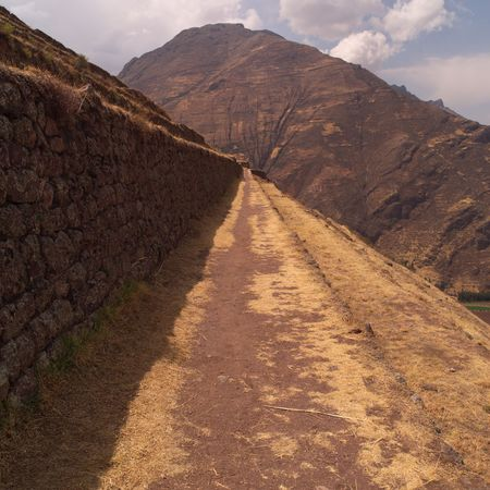 pisaq: Ruins of Pisaq - Temple of the Sun in Peru, Tiered levels on mountain side Stock Photo