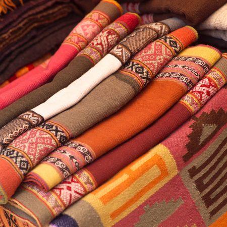 pisaq: Pisaq Market in Peru, Handmade blankets Stock Photo