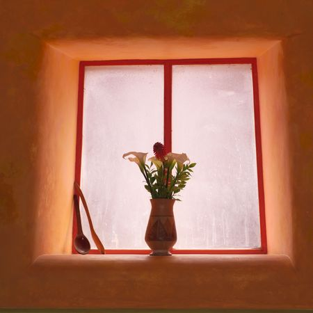 pisaq: Pisaq Market in Peru, Vase of Flowers in Window