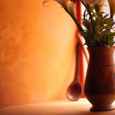 pisaq: Pisaq Market in Peru, Vase of Flowers Stock Photo
