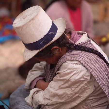 pisaq: Pisaq Market in Peru, Peruvian woman resting