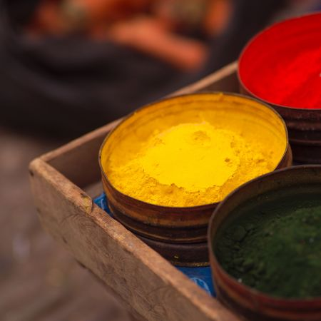 pisaq: Pisaq Market in Peru, Colorful powdered paint