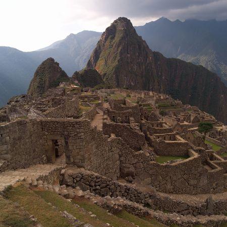 mountainside: Peru - Machu Picchu, Ancient Ruins on hillside in Machu Picchu
