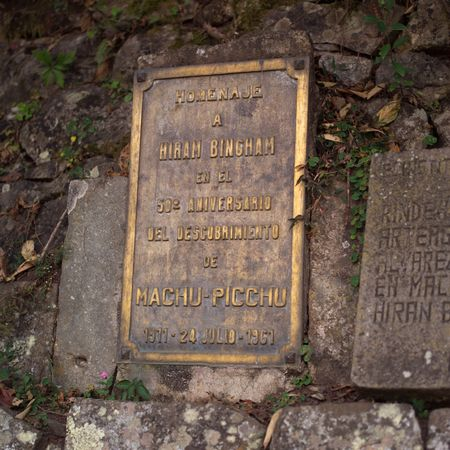 plaque: Peru - Machu Picchu, Plaque at the site of ancient ruins