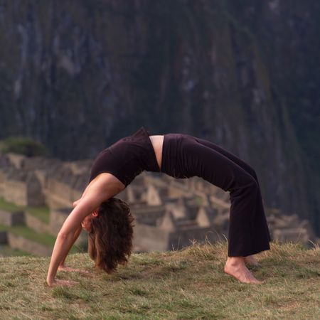 Peru - Machu Picchu, Woman doing Yoga