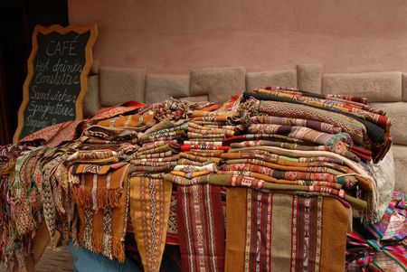 Peru, Woven blanks at marketplace Stock Photo