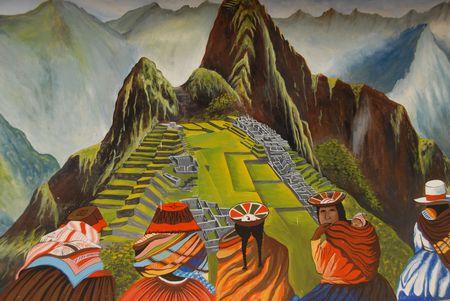 페루, 페루에서 그린 벽화 스톡 콘텐츠