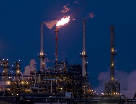 smokestacks: Northern Alberta, Refinery in Northern Alberta at night