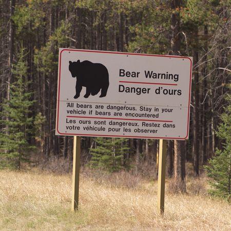 Jasper Alberta, Bear warning sign in Jasper Alberta Stock Photo - 2428598