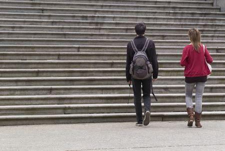 Vancouver, Columbia Británica, las personas caminando hacia las escaleras en Vancouver  Foto de archivo - 2428693
