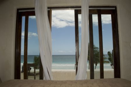window curtains: Tulum Mexico, Sheer drapery overy doorway