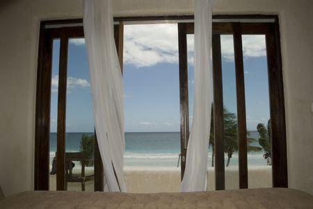 window curtains: Tulum Mexico, Sheer drapery overy doorway