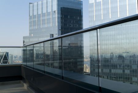 balcony: New York City, Two glass buildings in New York Stock Photo