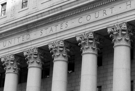 colonnade: New York City, United States Court House in Manhattan Stock Photo