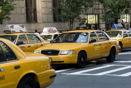 taxicabs: New York City, Taxis on street in New York