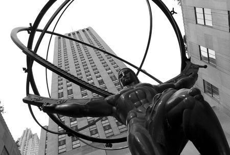 circular muscle: New York City, Atlas statue in Rochefeller Centre Stock Photo