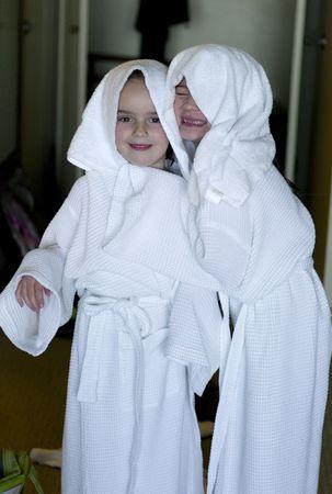 Girls in bathrobes