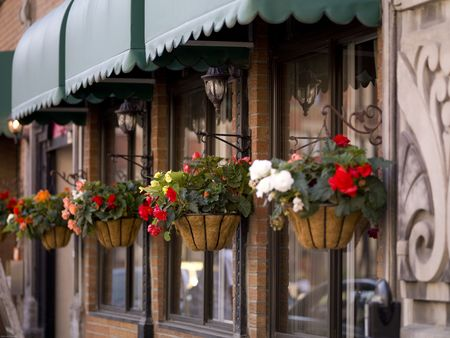 awnings: Hanging flower baskets in front of a store in Montreal
