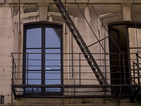 ironworks: Fire Escape on exterior of building in Montreal Stock Photo