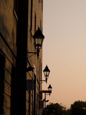 Row of Street Lamps at sunset