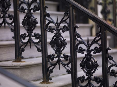 Railing on staircase in Montreal photo
