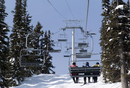 ski lift: People on ski lift