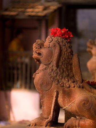 lion figurines: Varanasi, India - Statue of Lion Stock Photo
