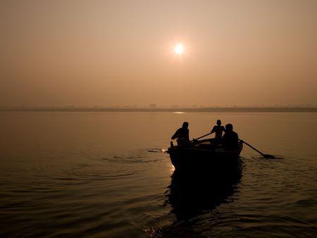 Benares, India - Life op het Ganges Stockfoto - 5266367