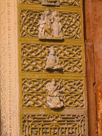 ccedil: Jaipur, India - carvings on exterior wall