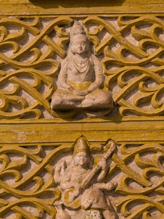 Jaipur, India - carvings on exterior wall