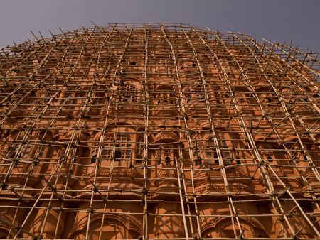 Jaipur, India - scaffolding on exterior of building