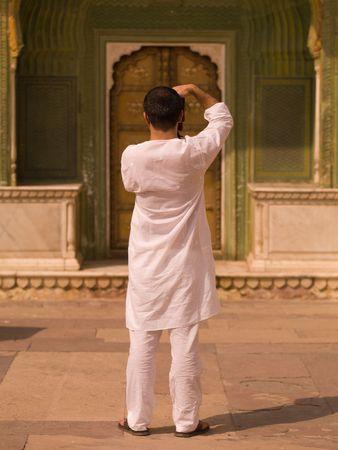 Jaipur, India - man die een beeld Stockfoto
