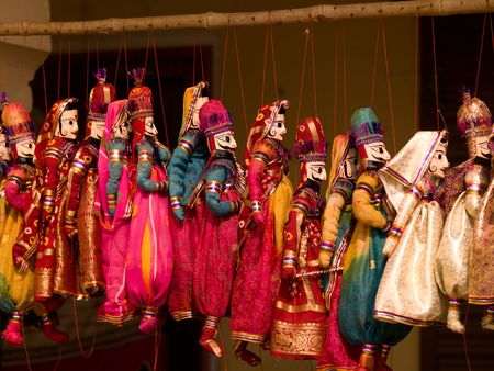 puppets: Jaipur, India - row of puppets Stock Photo