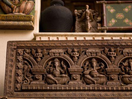Jaipur, India - carved figurines on wall