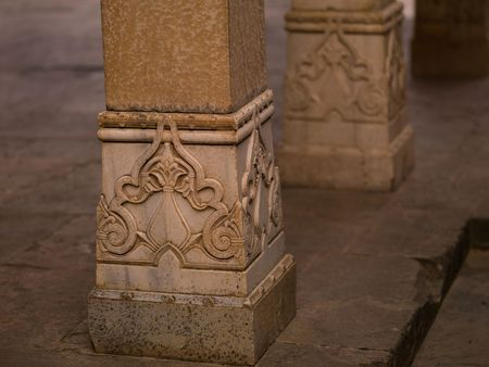 fatehpur: Decorated column in Abandon City of Fatehpur, Rajasthan India Stock Photo