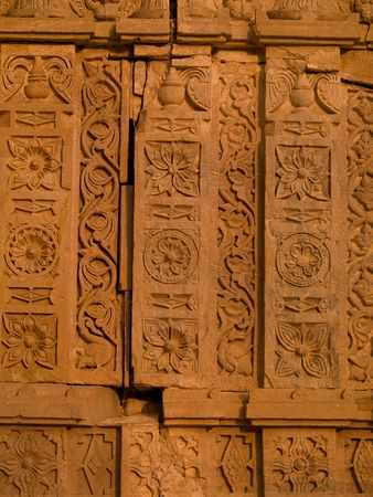 fatehpur: Carvings on wall in Abandon City of Fatehpur, Rajasthan India