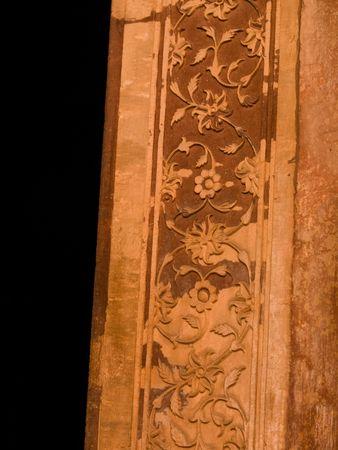 Houtsnijwerk op muren van Fatehpur Sikri, India - Stad van de Overwinning, Agra